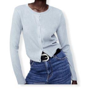 Zara ribbed round neck long sleeve cardigan jacket